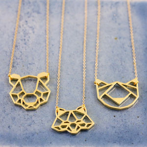Gold Animal Face Pendant Necklace - children's jewellery