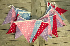 Multicoloured Cotton Spotty Bunting - hanging decorations