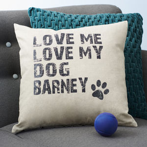 Personalised Love My Dog Cushion - shop by personality