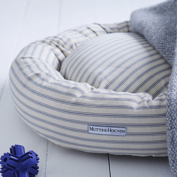 Ticking Stripe Donut Dog Bed