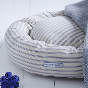 Ticking Stripe Donut Dog Bed - stylish pet accessories for the home