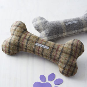 Tweed Squeaky Bone Toy - dogs