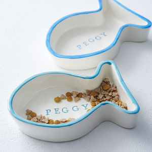 Personalised Ceramic Cat Bowl - pet-lover