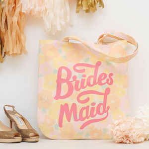 'Bridesmaid' Floral Tote Bag