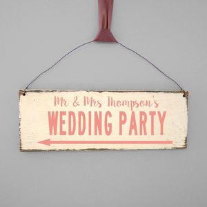 Personalised Modern Wedding Direction Sign