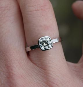 Cushion Cut Solitaire Ring - engagement rings