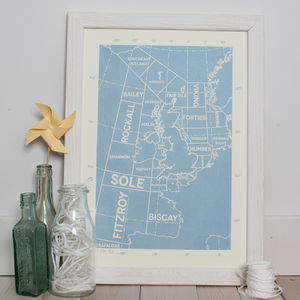 Shipping Forecast Map Limited Edition Screen Print - contemporary art