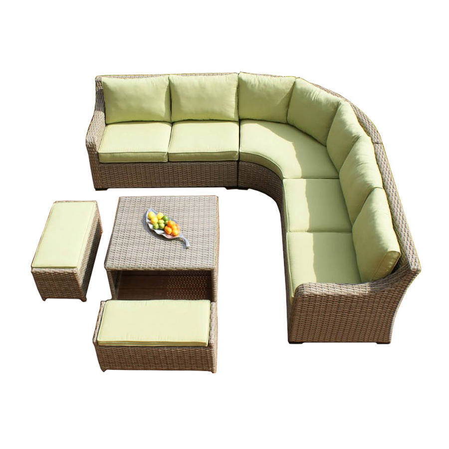 Wide Weave Curve Corner Sofa Set By Out There Exteriors