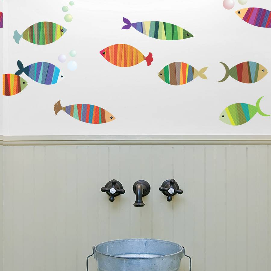 patterned fish wall stickers by spin collective