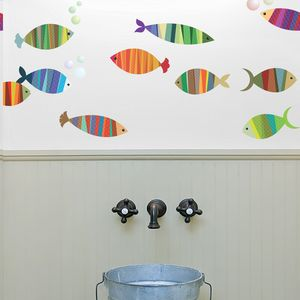 Patterned Fish Wall Stickers - wall stickers