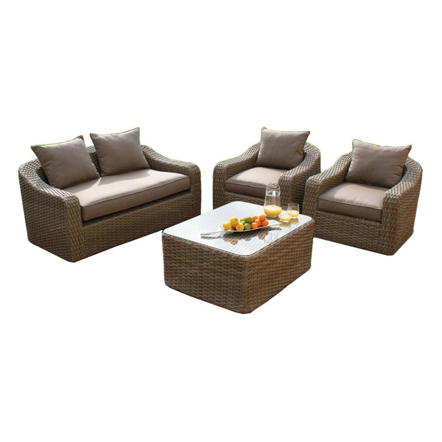 Wide Weave Rounded Sofa Set By Out There Exteriors