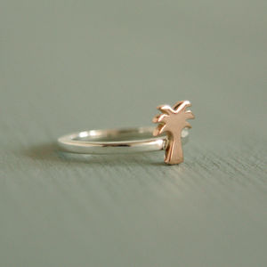 Palm Tree Ring Handmade Silver And Rose Gold