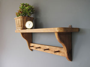 Vintage Country Cottage Shelf With Wooden Pegs - bedroom