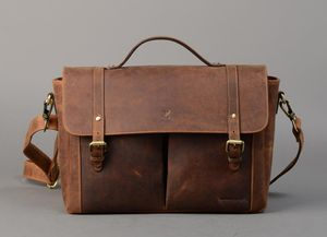 Leather Messenger Satchel - laptop bags & cases