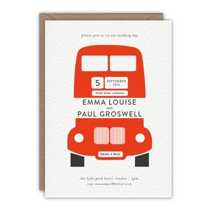 London Bus Wedding Invitation - personalised