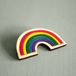 Rainbow Brooch. Hand Painted Birch Wood - pins & brooches