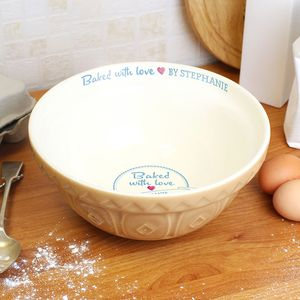 'Baked With Love' Personalised Baking Bowl - mixing bowls