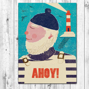 Ahoy! Retro Style Greetings Card