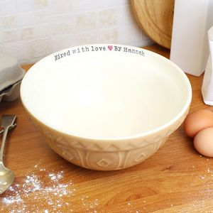 'Mixed With Love By…' Personalised Baking Bowl - mixing bowls