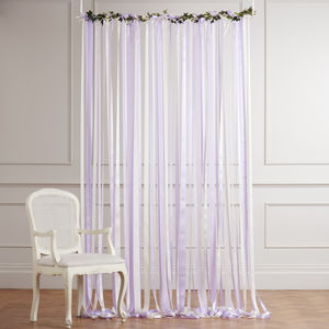 Ready To Hang Ribbon Curtain Backdrop Lilac And Cream
