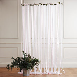 Pale Pink Ribbon Backdrop On White Pole With Ivy - room decorations