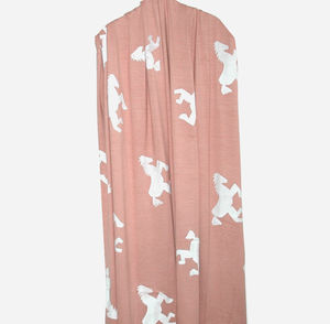 Dusky Pink Hand Silk Printed Scarf