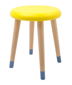 Colourful Wooden Stool In Lemon And Blue