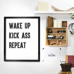 'Wake Up Kick Ass' Typography Print - art & pictures