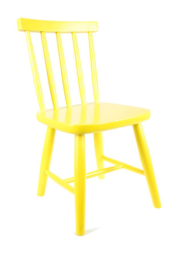 Wooden Child's Chair In Lemon Yellow