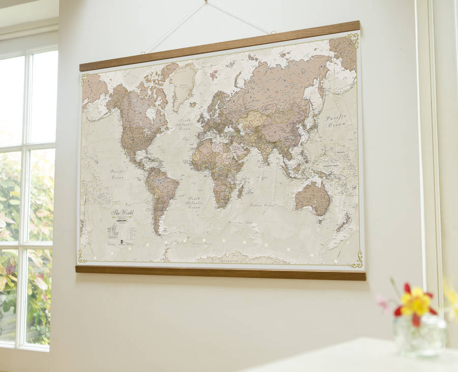 antique map of the world wall hanging by maps