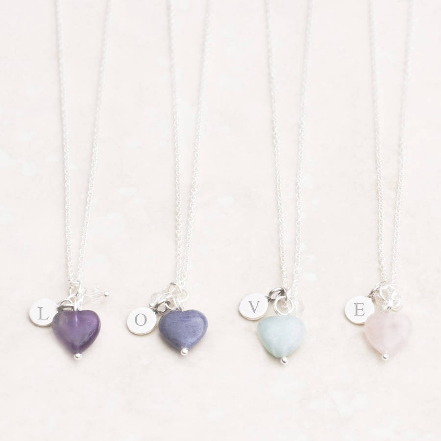bloomboutique stone by personalised card mayla original product heart necklace bridesmaid bloom silver maya gift