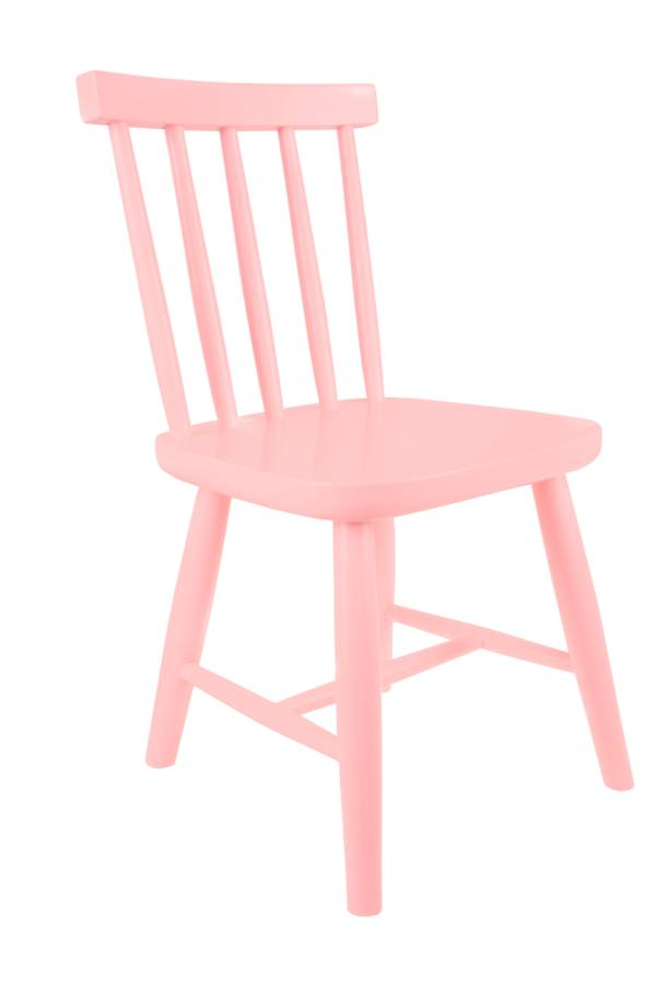 Wooden Child's Chair In Salmon Pink