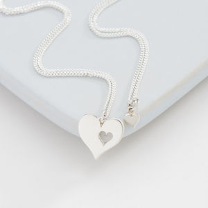 Me And My Mummy Silver Heart Necklace - women's fashion