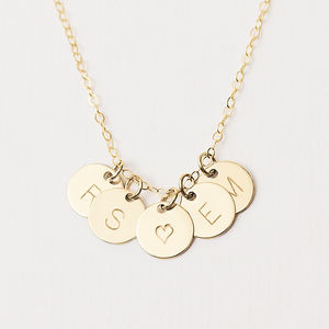 Personalised Initial Disc Necklace - for her