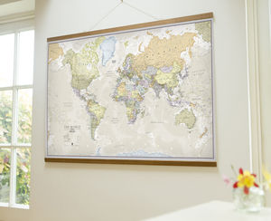 Classic Map Of The World Wall Hanging - nursery pictures & prints