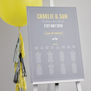 Love Bird Wedding Table Plan - on trend: yellow & grey