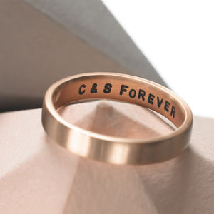 Personalised Solid Rose Gold Ring - wedding fashion