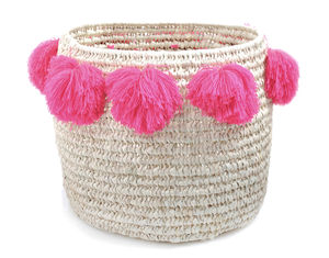 Pom Pom Basket In Pink Or Blue