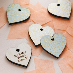 Pack Of 10 Personalised Wedding Favour Hearts - heart favours