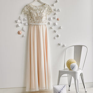 Lace Sleeve Floor Length Dress - wedding fashion