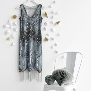 Isobel Gatsby Inspired Flapper Embellished Fringe Dress - hen party styling
