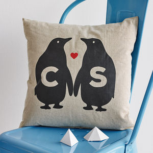 Personalised Penguin Love Linen Cushion - gifts for couples
