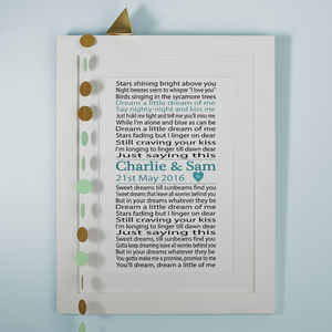 Personalised First Dance Song Lyrics Print - gifts for couples