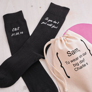 Personalised Cold Feet Wedding Socks - groomed to perfection