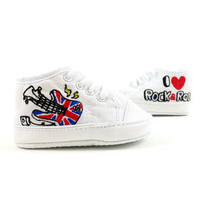 Personalised I Love Rock And Roll Baby Canvas Shoes