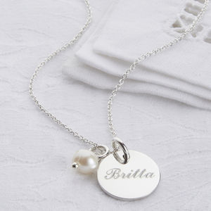 Personalised Sterling Silver Disc And Pearl Necklace - jewellery for women