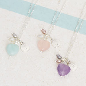 Molly Semi Precious Heart And Pearl Necklace