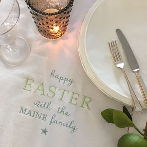 Personalised Linen Easter Table Runner