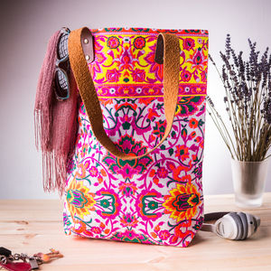 Neon Screen Printed Tote Bag With Leather Handles - summer accessories