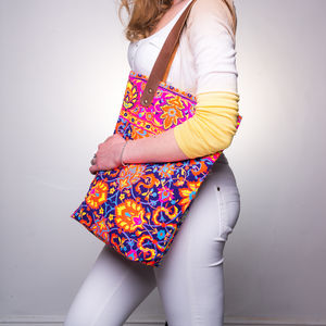 Neon Canvas Bag With Leather Handles